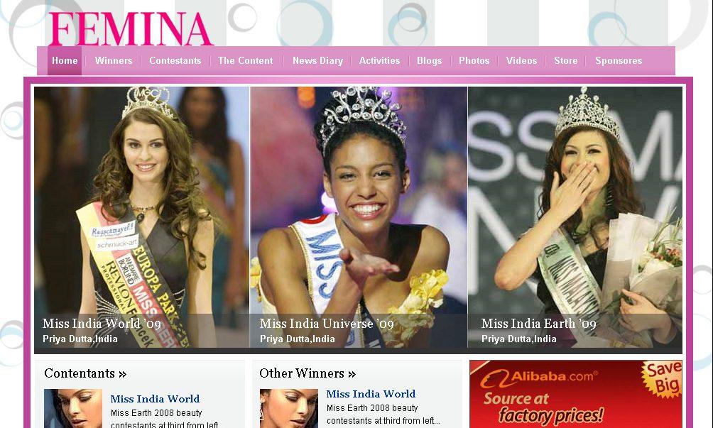 Femina Miss India Page Design
