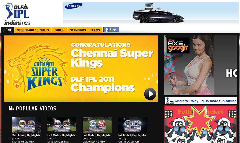IPL @ Indiatimes - 2010